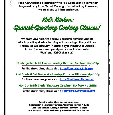 Spanish-Speaking Cooking Classes in October